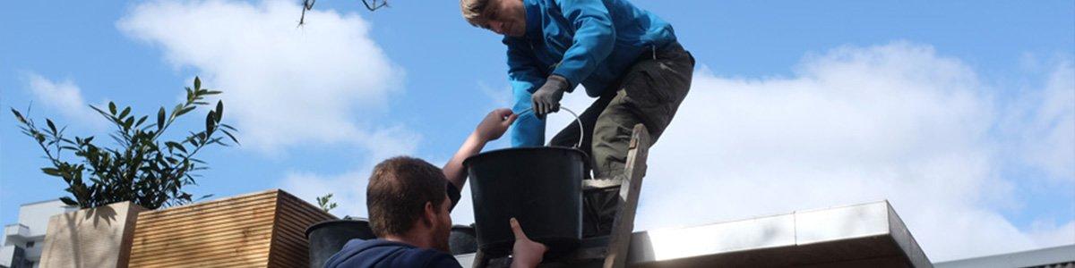 Die Werkkiste im Einsatz bei der Dachbegrünung