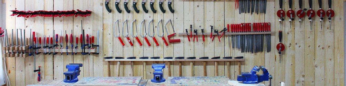 Die Werkstattwand in unserer Kurswerkstatt