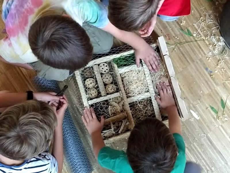 Kinder befüllen ein Insektenhotel